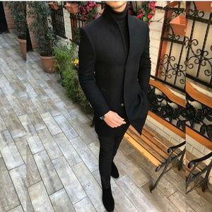 Men's Casual Thicken warm Slim Wool Blends Coat